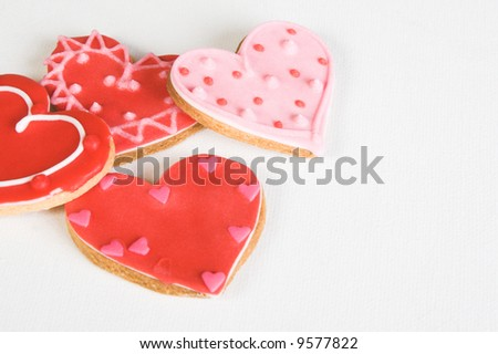 Red and Pink Heart Shaped Cookies with Icing