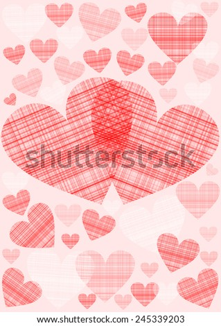 Red and pink hearts in different sizes in a checkered pattern on pink colored ground
