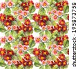 Red and pink primula (primrose) flowers. Seamless floral pattern. Watercolour - stock photo
