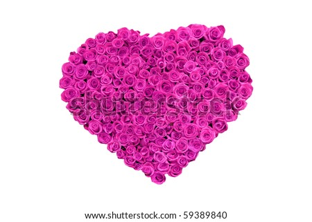 red and pink roses in heart shapes for love and valenties day isolated on white