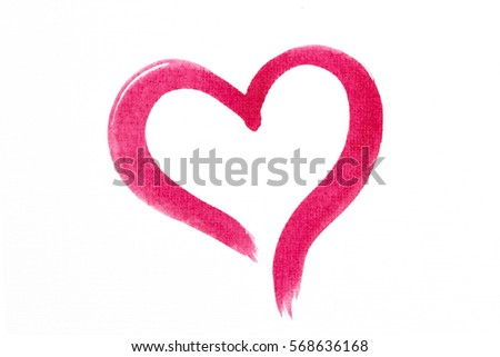 Red and pink watercolor hand painted border heart for Valentine's day isolated on white background