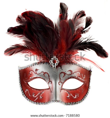 red and silver feathered mask isolated on a white background - stock photo