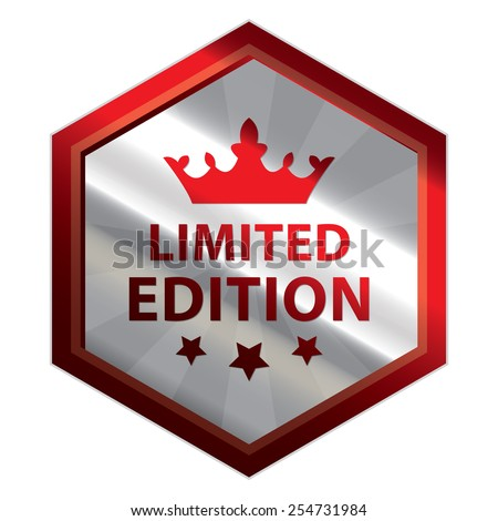 Red and Silver Metallic Hexagon Limited Edition Button, Icon, Label, Sign or Sticker Isolated on White Background  - stock photo