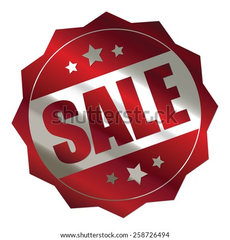 red and silver metallic sale sticker, badge, icon, stamp, label, banner, sign isolated on white  - stock photo