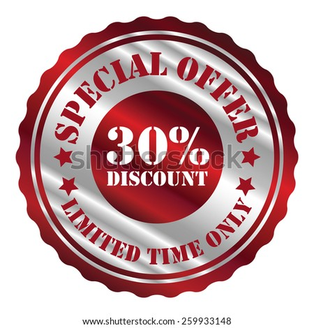 red and silver metallic special offer 30% discount limited time only sticker, sign, stamp, icon, label isolated on white - stock photo