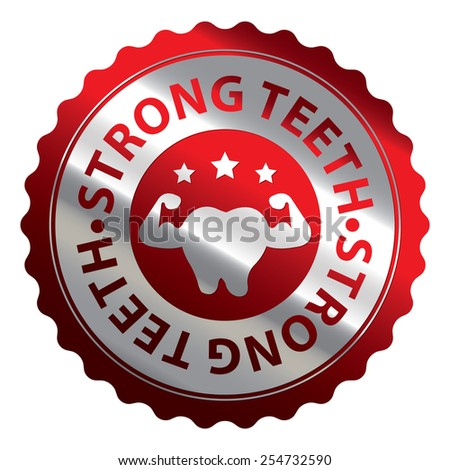 Red and Silver Metallic Strong Teeth Badge, Icon, Label, Sign or Sticker Isolated on White Background  - stock photo