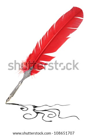Red and silver quill drawing