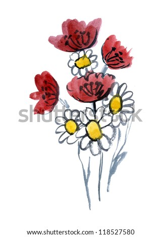 Red and white artistic flowers painted in watercolor  isolated on white - stock photo
