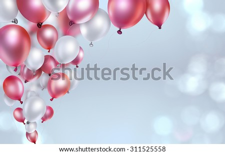 red and white balloons on light blurred background - stock photo