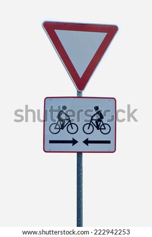 Red and white bicycle sign on white