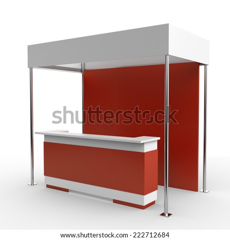 red and white booth for customizing - stock photo