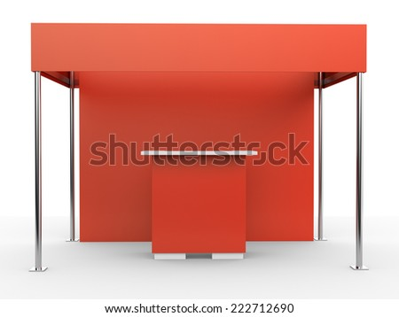red and white booth for customizing. View from front - stock photo