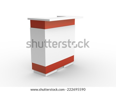 Red White Booth Table Perspective Stock Illustration - Booth or table