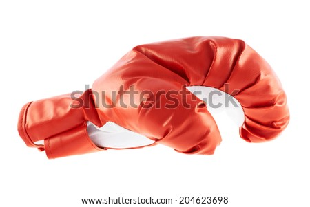 Red and white boxing glove isolated over the white background - stock photo