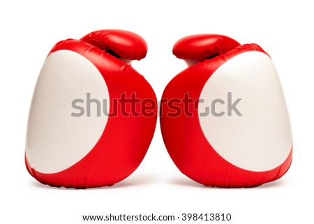 Red and white boxing gloves isolated on white - stock photo