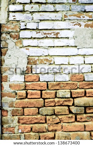 Red and white brick in the old style - stock photo