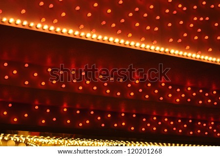 red and white bulbs marquee 2 - stock photo