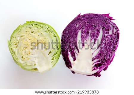Red and white cabbage on a white background. Vegetable diet. - stock photo