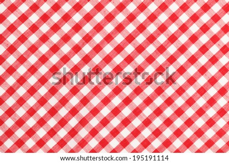 Red and White Checkered Table Cloth Background. - stock photo