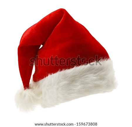 Red and White Christmas Hat Isolated on White Background. - stock photo