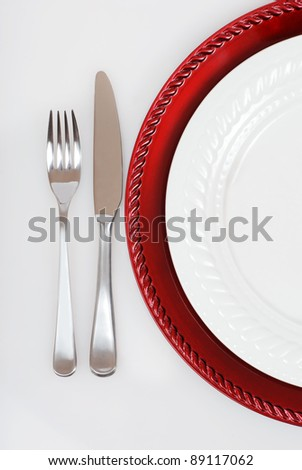 red and white Christmas place setting