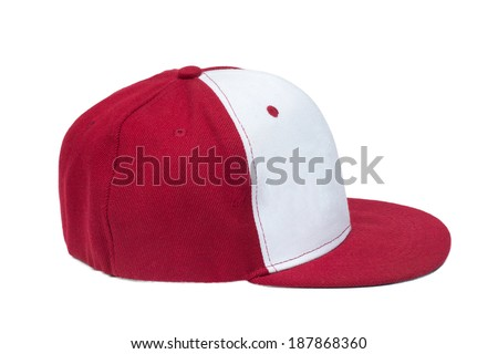 red and white color baseball caps isolated on white background - stock photo