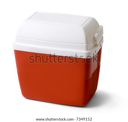 red and white cooler isolated on white - stock photo