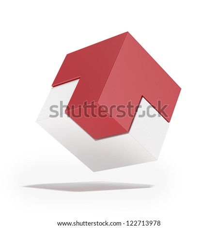 Red and white cube with arrow isolated on a white background - stock photo