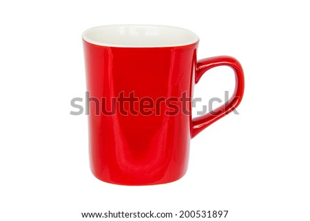 Red and white cup for coffee or tea