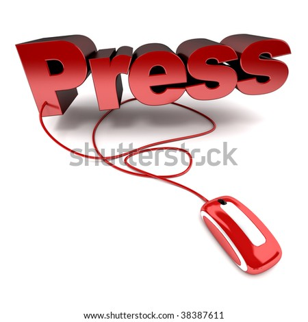 Red and white 3D illustration of the word press connected to a computer mouse