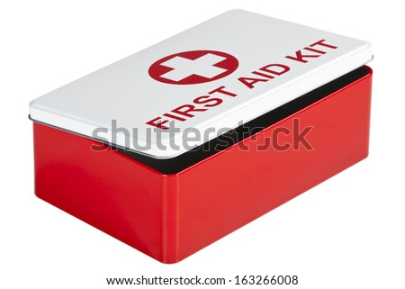 Red and white first aid kit isolated on white background - stock photo