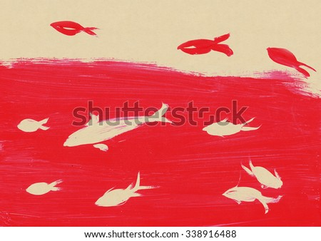 Red and white fish, drawing - stock photo