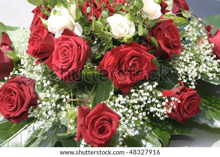 Red and white flowers ? wedding bouquet