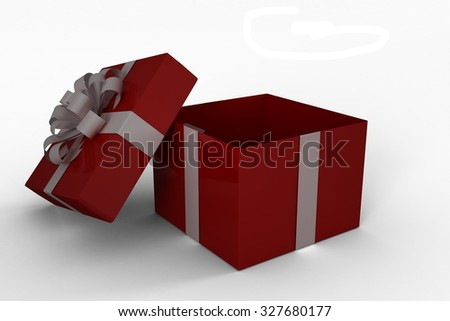 Red and white gift box on white background