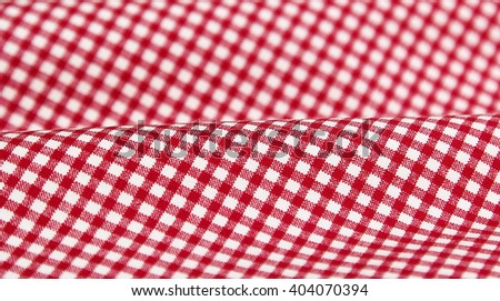 Red and white gingham fabric background - stock photo