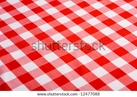 Red And White Gingham Or Checked Tablecloth Background