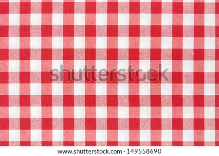 Red and white gingham tablecloth texture background, high detailed  - stock photo
