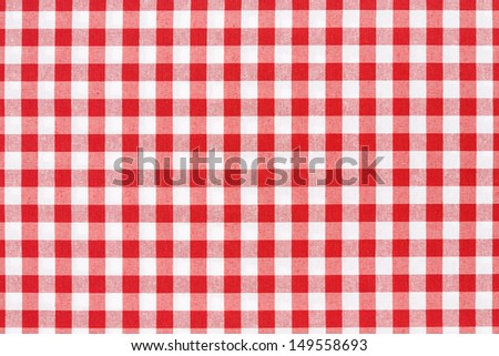 Red and white gingham tablecloth texture background, high detailed