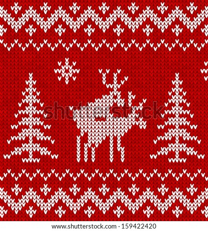 Red and white humorous sweater with deer seamless pattern - stock photo