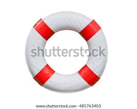 Red and white life buoy isolated on white.