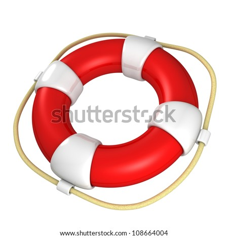 red and white life buoy on white background - stock photo