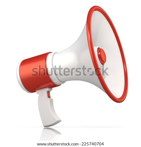 Red and white megaphone, 3D rendering, isolated on white background. - stock photo