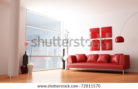 red and white minimalist living room - rendering - stock photo