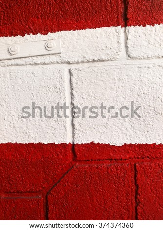 Red and white parking entrance,detail     - stock photo