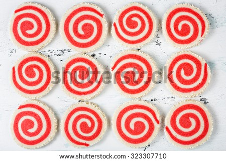 Red and White Pinwheel Christmas Cookie background - stock photo