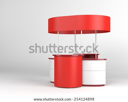 red and white portable booth or kiosk - stock photo