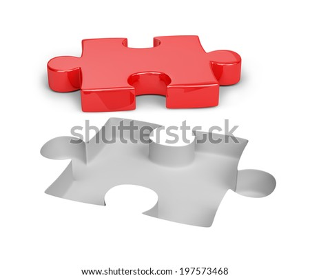 Red and white puzzle. 3d image. White background. - stock photo