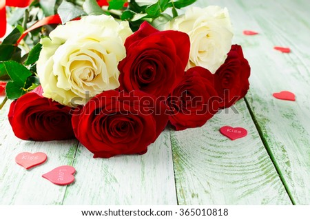Red and white roses. Background for Valentine's Day. Wedding day