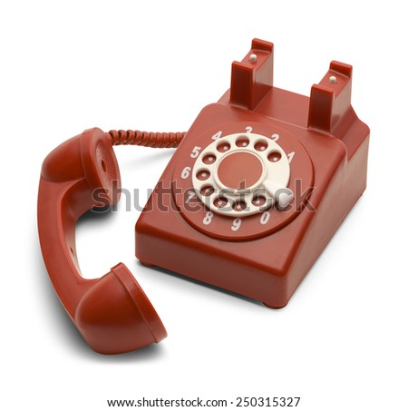 Red and White Rotary Phone Off the Hook Isolated on White Background.