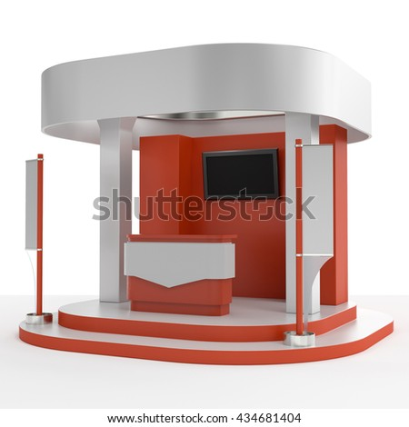 red and white round booth with flags. 3D rendering - stock photo